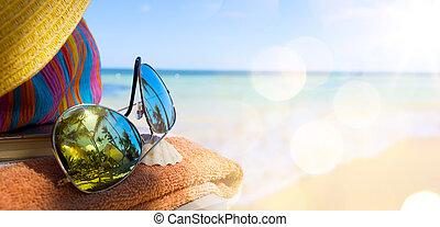 paja, sol,  tropical, bolsa, sombrero, playa, anteojos