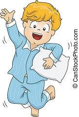 Pajama Boy - Illustration of a Boy Wearing Pajamas Jumping...