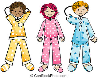 Pajama Kids with Clipping Path