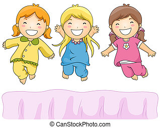 Pajama Party - Illustration of Cute Little Girls Having a...