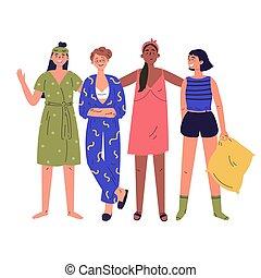Pajama party vector cartoon illustration