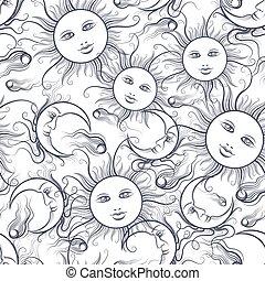 Pajamas sun and moon seamless pattern