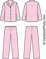 Pajamas - Vector illustration of women's sleepwear. Front ...