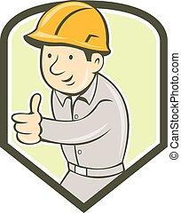 pajzs, építő, munkás, feláll, szerkesztés, lapozgat, karikatúra