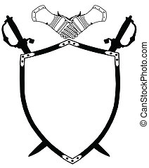 pajzs, évszázad, kard, elszigetelt, háború, keresztbe tett, pár kesztyű, 16