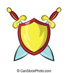 pajzs, arany, lovag, kard, két, keresztbe tett, ikon