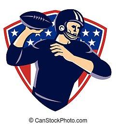 pajzs, foci játékos, amerikai, elmenő, hátvéd fociban