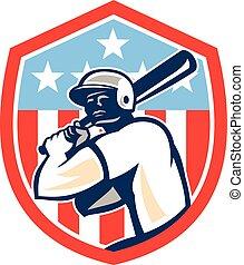 pajzs, hitter, american baseball, retro, ütőjátékos