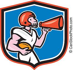 pajzs, labdarúgás, amerikai, bullhorn, karikatúra, hátvéd fociban