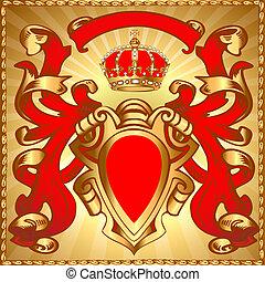 pajzs, motívum, korona, gold(en)
