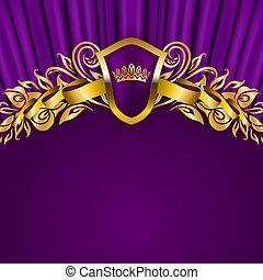 pajzs, szalag, arany, szüret, blazon, királyi lombkorona, állás, háttér, díszítés, szöveg, style.