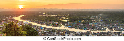 Pak Nam Chumphon. View from Khao (Hill) Matsee Viewpoint in...