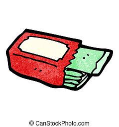 paket, kauen, karikatur, zahnfleisch