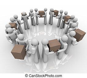 pakete, arbeitende leute, prozess, liefern, system, ...