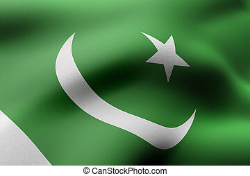 Pakistan 3d flag - 3d rendering of a detail of a silked ...