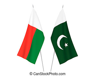 Pakistan and Madagascar flags - National fabric flags of ...
