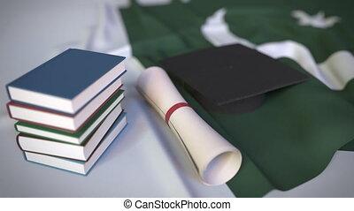pakistan, bildung, kappe, diplom, animation, pakistaner,...