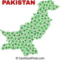 pakistan, canapa, foglie, mosaico, mappa