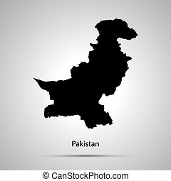 Pakistan country map, simple black silhouette on gray