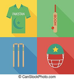 Pakistan cricket icons in flat design with long shadows