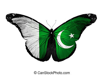 Pakistan flag butterfly flying, isolated on white background