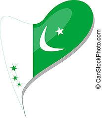 pakistan flag button heart shape. vector