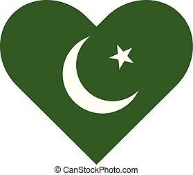 Pakistan flag heart shaped illustration vector