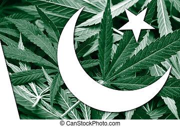 Pakistan Flag on cannabis background. Drug policy. ...