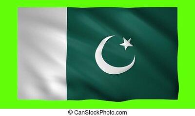 Pakistan flag on green screen for chroma key
