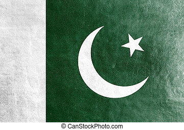 Pakistan Flag painted on leather texture