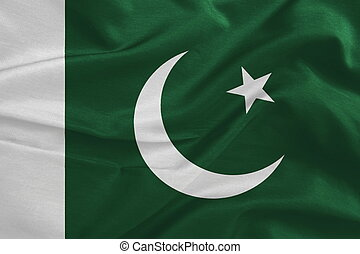 Pakistan flag pattern on the fabric texture ,vintage style