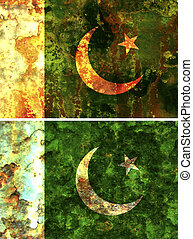 Pakistan flag - some very old grunge flag of Pakistan