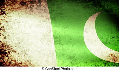 Pakistan Flag Waving, grunge look