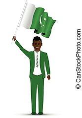 Pakistan flag waving man