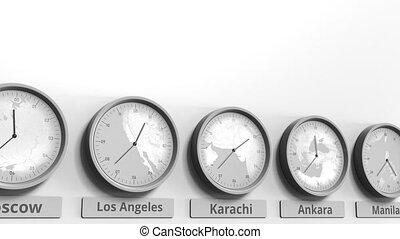 pakistan, horloge, projection, dans, karachi, animation, temps, conceptuel, mondiale, rond, zones., 3d