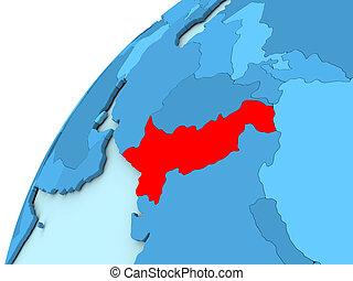 Pakistan in red on blue globe