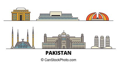 Pakistan, Islamabad flat landmarks vector illustration....