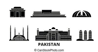 Pakistan, Islamabad flat travel skyline set. Pakistan,...