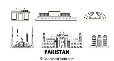 Pakistan, Islamabad line travel skyline set. Pakistan,...