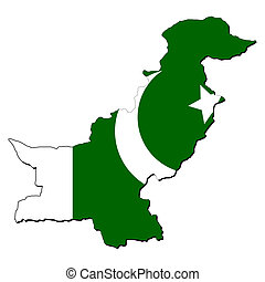 Pakistan map flag - map of Pakistan with their flag...