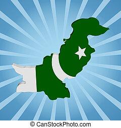 Pakistan map flag on blue sunburst illustration