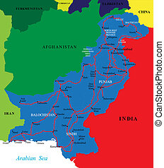 Highly detailed vector map of Pakistan with al the different administrative regions, cities and roads.
