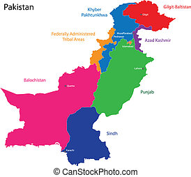 Map of Pakistan with the states colored in bright colors