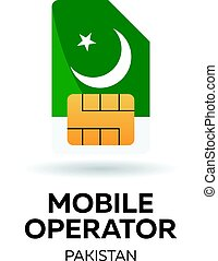 Pakistan mobile operator. SIM card with flag.