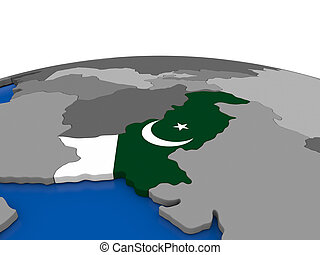 Pakistan on 3D globe
