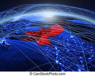 Pakistan on blue blue digital globe