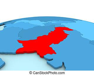 Pakistan on blue globe