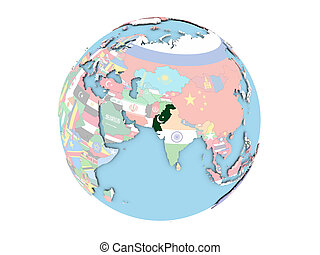 Pakistan on globe isolated