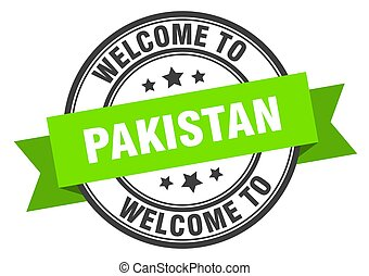 Pakistan stamp. welcome to Pakistan green sign
