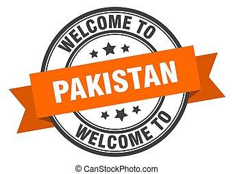 Pakistan stamp. welcome to Pakistan orange sign